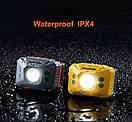 Налобний ліхтарик Naturehike з сенсором руху, з вбудованим акумулятором 1200mAh від USB жовтий, фото 7