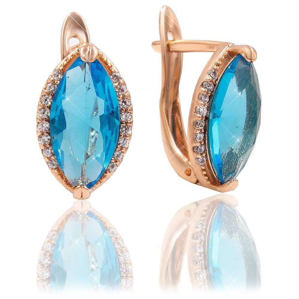 Серьги классические — позолота Узкий камень в 2х держателях, голубой