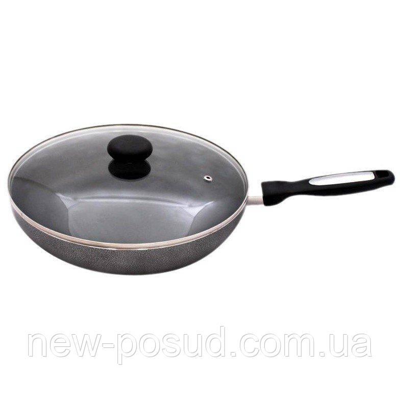 Сковорода алюминиевая диам.26см с антипригарным покрытием и стеклянной крышкой Krauff 25-27-029