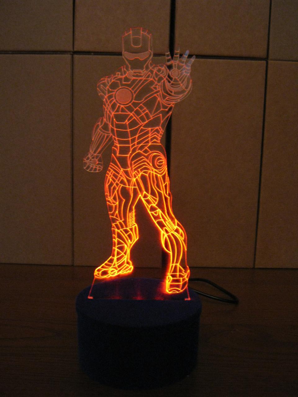 3d-світильник Залізна людина в зростання, 3д-нічник, кілька підсвічувань (на пульті)