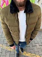 😜 Куртка - Мужскаяя теплая зимняя куртка с меховым воротником вельвет (хаки)