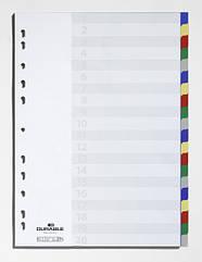 Разделители цветные 1-20 А4 пластиковые  DURABLE 6758 27