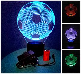 3d-світильник Футбольний м'яч, 3д-нічник, кілька підсвічувань (батарейка+220В)