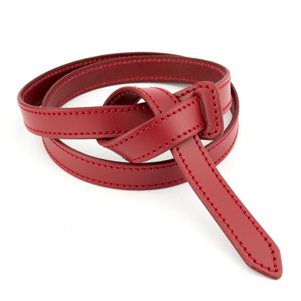 Ремень-узел женский кожаный без пряжки красный KB-K20 (2 см)
