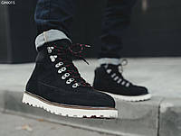 Зимние кожаные ботинки мужские из нубука STF NORTH BLACK 2019 теплые высокие