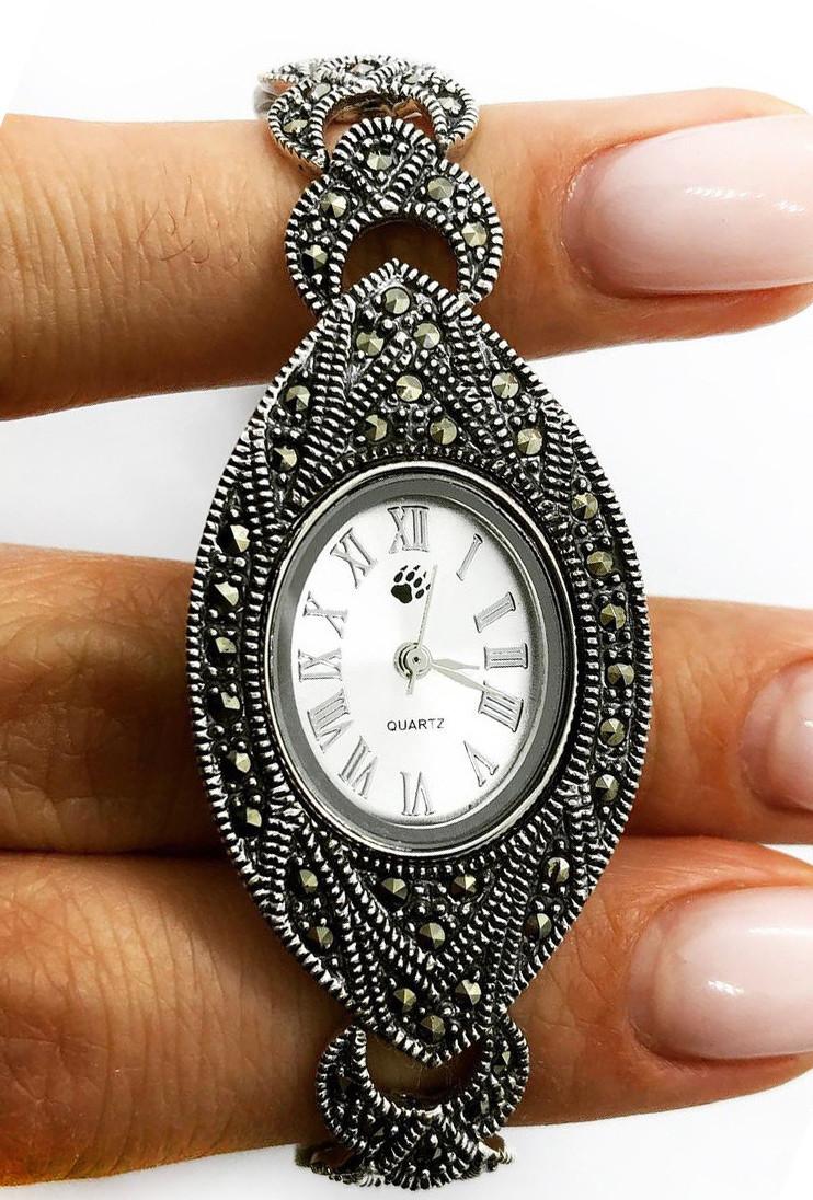 Часы из капельного серебра 925 Beauty Bar с камнями марказит, фото 1