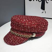 Женский картуз, кепи, фуражка драповый с цепью бордовый, фото 1