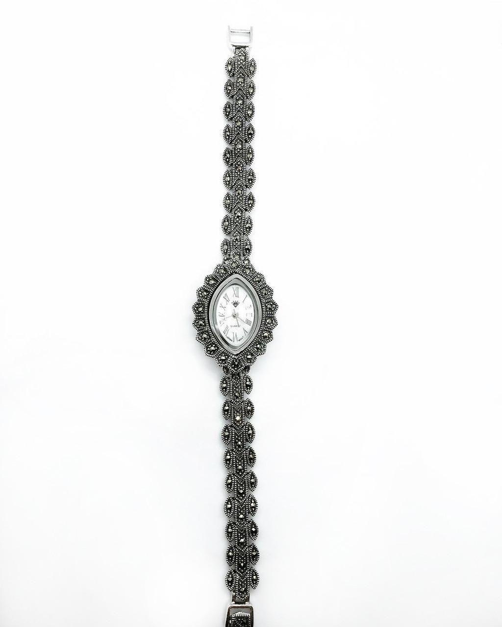 Часы из капельного серебра 925 классические с камнями марказит, фото 1