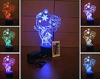 3d-светильник Эльза Frozen, 3д-ночник, несколько подсветок (на пульте)