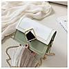 Сумка зеленая с белым через плечо с ромбом, фото 9