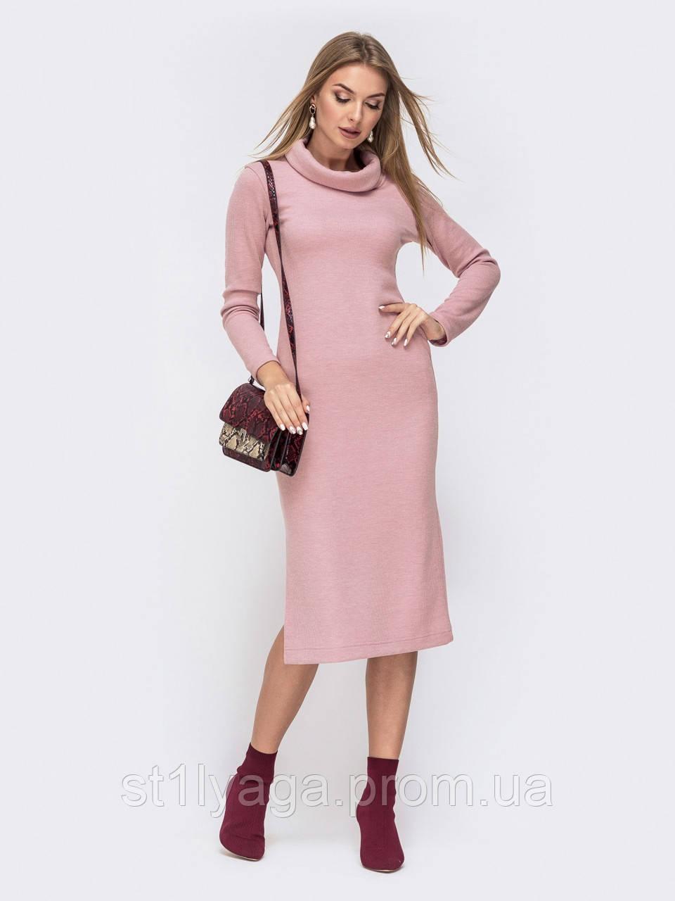 Тёплое платье-гольф с воротником «хомут» и разрезом сбоку