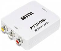 Конвертер переходник адаптер RCA CVBS на HDMI со звуком HLV AV2HDMI 5028