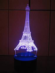 3d-светильник Эйфелева башня, 3д-ночник, несколько подсветок (батарейка+220В), романтический подарок