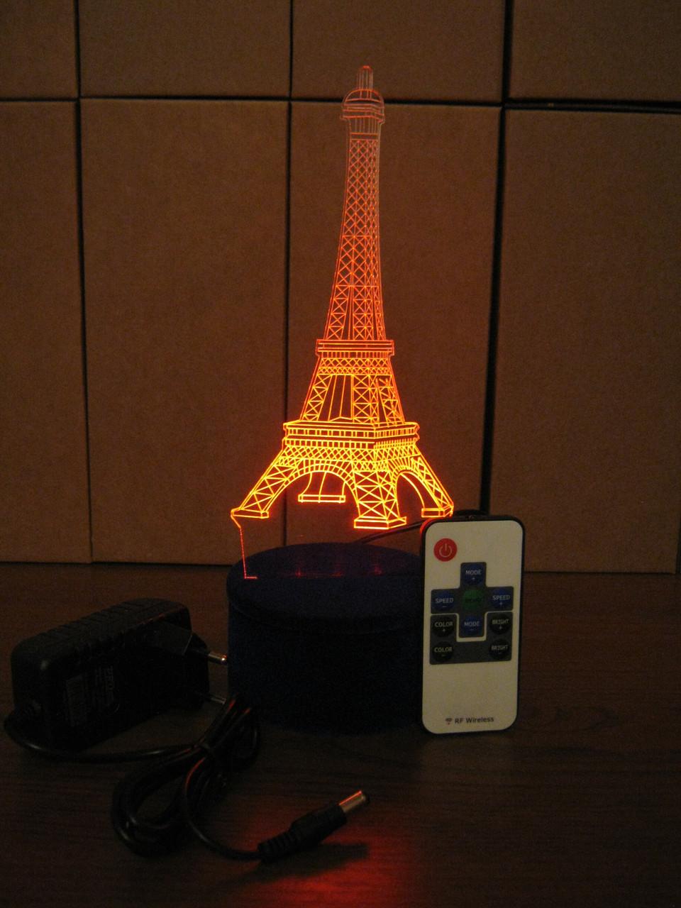 3d-светильник Эйфелева башня, 3д-ночник, несколько подсветок (на пульте), романтический подарок