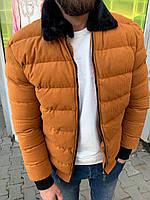 😜 Куртка - Мужскаяя теплая зимняя куртка с меховым воротником вельвет (горчичная)
