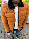 😜 Куртка - Мужскаяя теплая зимняя куртка с меховым воротником вельвет (горчичная), фото 3