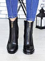 Женские кожаные сапоги на каблуке с молнией спереди 75OB96