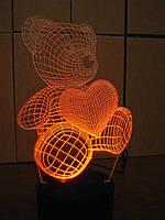 3d-светильник Мишка с сердцем, 3д-ночник, несколько подсветок (батарейка+220В)