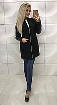 Кашемировое пальто женское с кожаными рукавами /разные цвета, 42-46, ft-1017/, фото 2