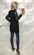 Кашемировое пальто женское с кожаными рукавами /разные цвета, 42-46, ft-1017/, фото 3