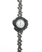 Годинник з крапельного срібла 925 Beauty Bar з камінням марказит у формі квітки