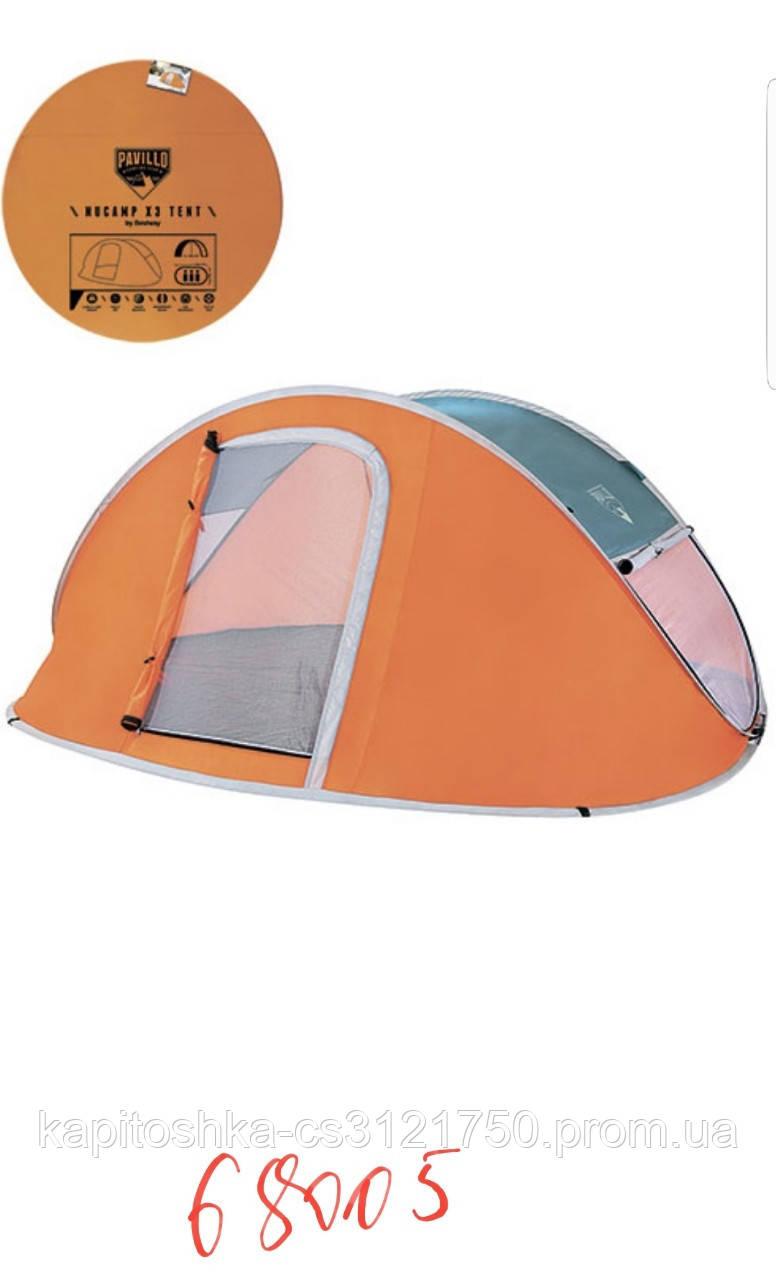 Палатка трехместная кемпинговая  Самораскрывающийся каркас. Однослойная. Bestway