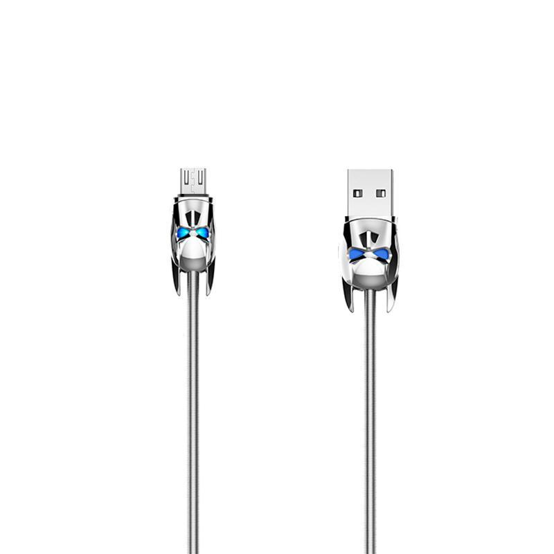 USB Cable Hoco U30 Shadow Knight MicroUSB Silver 1.2m