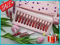 Набор матовых помад Kylie Valentine 12 шт, жидкие помады Кайли Валентин, набор помад, реплика