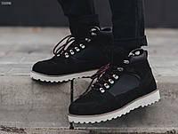 Зимние кожаные ботинки мужские из нубука на меху STF Black 2019 теплые высокие
