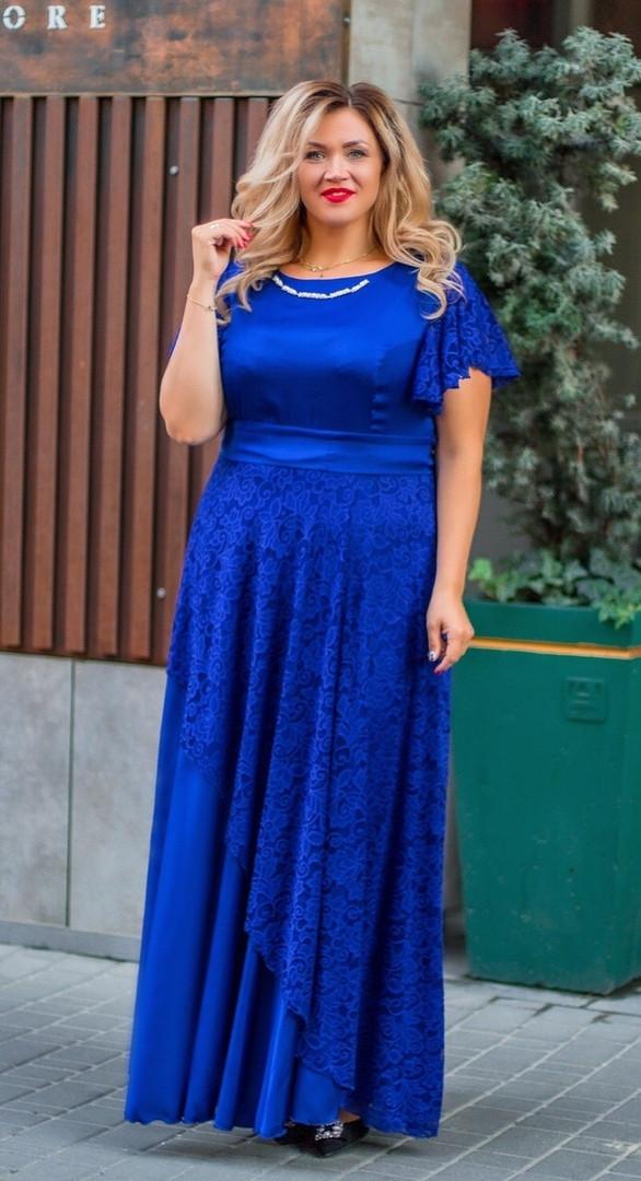 Длинное женское шёлковое платье с отделкой гипюра  56, 58, 60