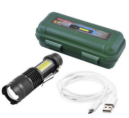 Фонарик мини карманный + кемпинговая лампа аккумуляторный BL 5389 - 525 зарядка от usb micro charge в боксе