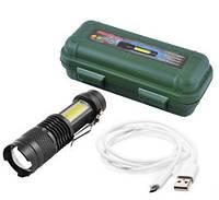 Фонарик мини карманный + кемпинговая лампа аккумуляторный BL 5389 - 525 зарядка от usb micro charge в боксе, фото 1