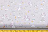 """Лоскут ткани с глиттерным рисунком """"Мини единороги и облака с капельками"""" на сером фоне (2353а), размер 31*78, фото 3"""