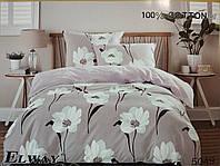 Сатиновое постельное белье евро ELWAY 5049 «Цветочный орнамент»