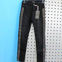 Теплые черный джинсы для девочки со стразами тм S&D размер/рост 152