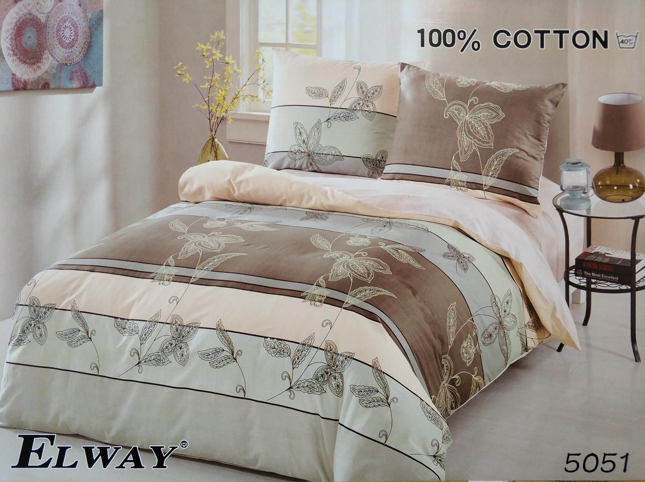 Сатиновое постельное белье евро ELWAY 5051 «Абстракция»