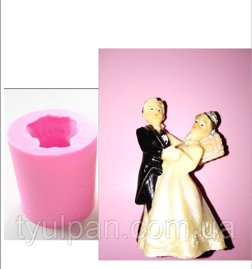 Молд силиконовый для мастики шоколада 5 см свадебный пара