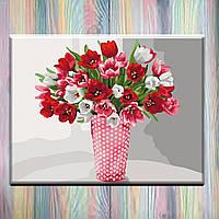 "Картина по номерам, холст на подрамнике, 40х50 Букет ""Разнообразие тюльпанов"", без коробки"