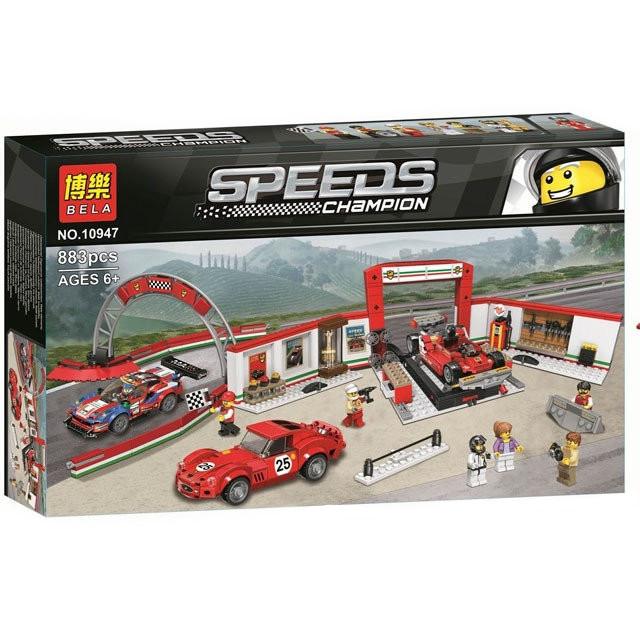 "Конструктор Bela 10947 ""Гараж Ferrari"" (аналог Lego Speed Champions 75889), 883 дет"