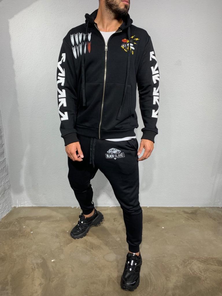 😜 Спортивный костюм - Мужской костюм  OFF WHITE черный без флисе