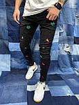 😝 Джинсы - Джинсы мужские черные с разноцветными вставками, фото 2