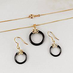 "Набор Xuping Jewelry ""Каролина"" с керамикой медицинское золото, позолота 18К. А/В 4456"