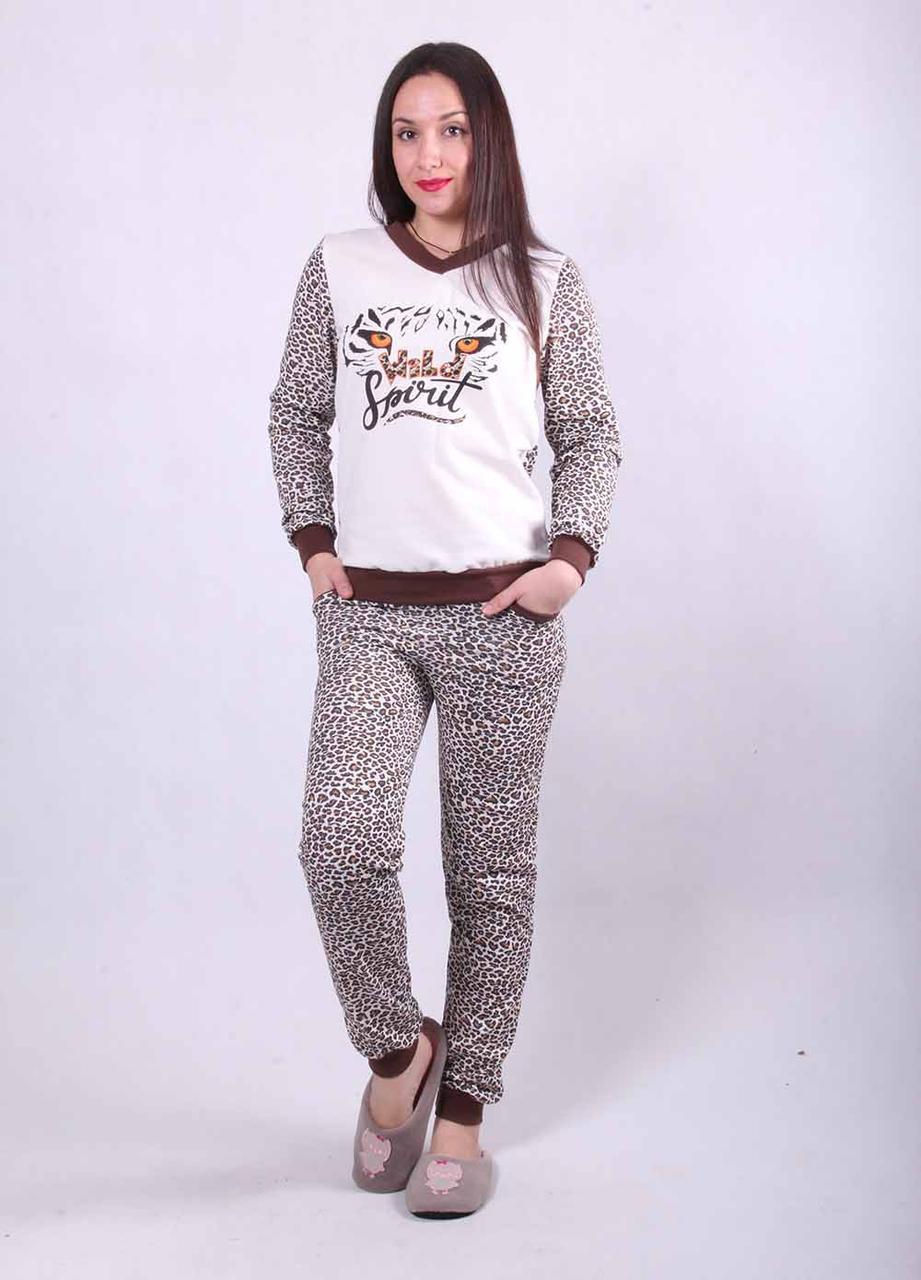 """Женская теплая пижама """"Леопардик"""" р. 50"""