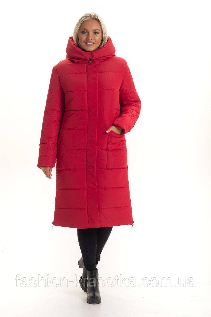 Женский теплый зимний пуховик,наполнитель  силикон,размеры:48-58