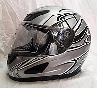 Шлем интеграл Металик чёрный огонь глянец, фото 1