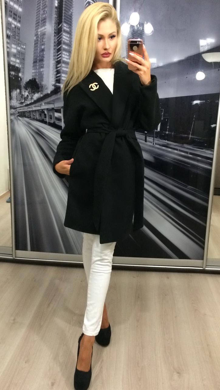 Кашемировое пальто на запах на поясе /черное, 42-46, ft-292/
