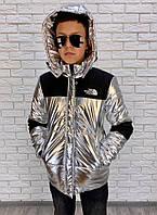 """Подростковая стеганая куртка на синтепоне """"SILVER FOIL"""" с карманами и капюшоном"""