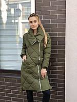 Женская длинная стеганая куртка  весенняя