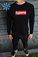 Мужской зимний спортивный костюм в стиле Supreme черный