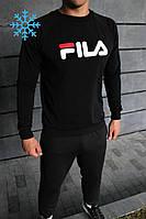 Мужской зимний спортивный костюм в стиле Fila черный